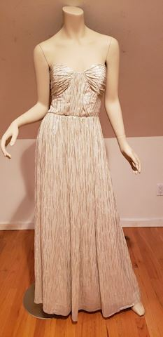 Erin Metallic strapless drizzle gown silk $550
