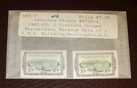 1962-63 2 IRS Documentary Revenue Stamps MNH