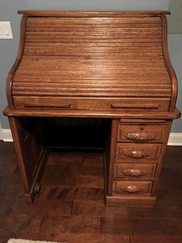 Antique Oak Raised Panel Roll Top Desk
