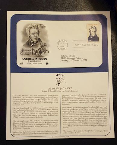 Andrew Jackson 1986 First Day Cover