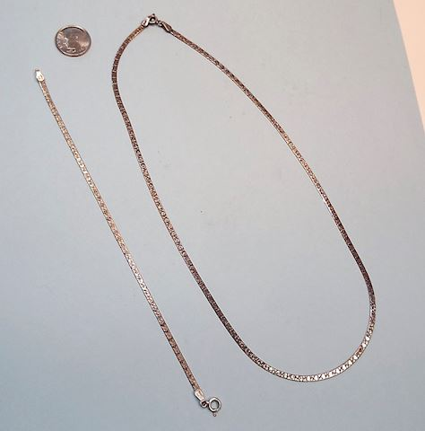 Sterling Bracelet & Necklace w/ Heart Design