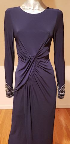 Vtg Vince Camuto draped embellished maxi gown