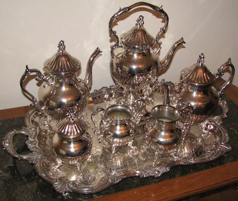 Silver on Copper Tea Service - Tray Plus 6 Pieces