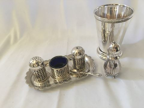 Lot of Silverplate Table Items Salt Pepper Julep