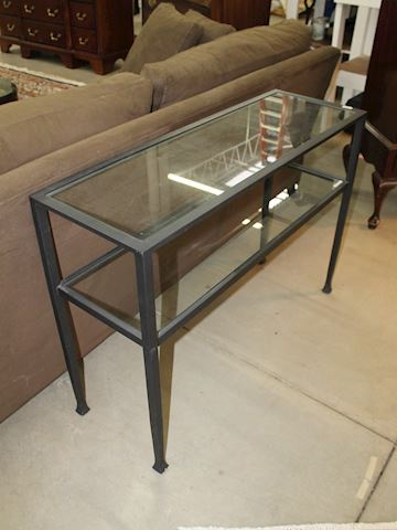 Wrought Iron Sofa Table with Glass Insert