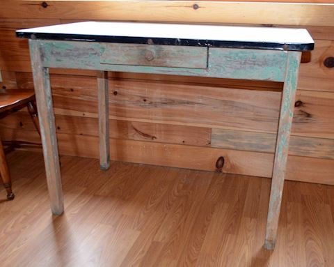 Primitive Enamel Top Kitchen Table