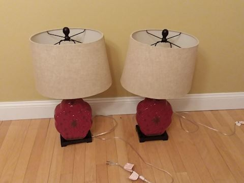 Pair of Red Table Top Lamps