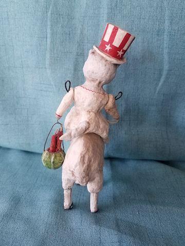 Debbee Thibault Patriotic cat riding Lamb