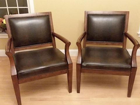 Faux Leather Wood Exotic Brown Accent Chairs, Pair