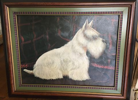 Scottie Dog Textured Canvas Print - Signed