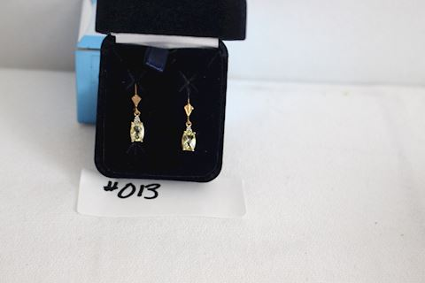 #013 New Citrus Quartz Earrings w Diamond Accents
