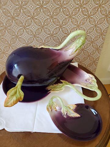 Fitz & Floyd Eggplant soup taurine, platter, bowl