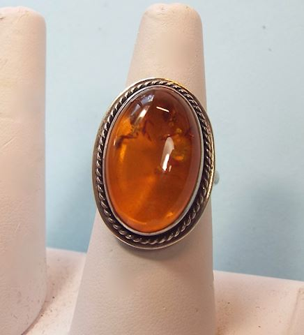 Vintage Baltic Amber Sterling Ring, size 7.5