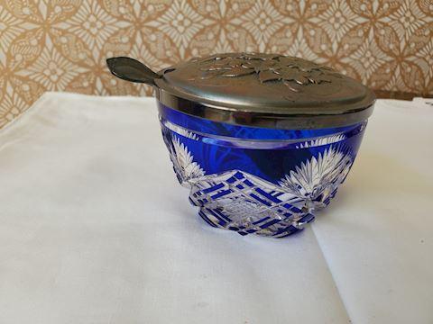 Hoya blue crystal sugar dish with silver