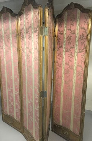 Antique French Silk & Gilded 4-Panel Screen Divide