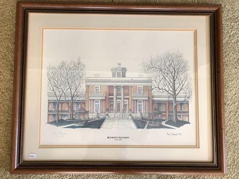 Belmont Mansion print, Phil Ponder signed