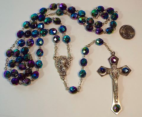 Vintage Rosary with Carnival Glass Beads