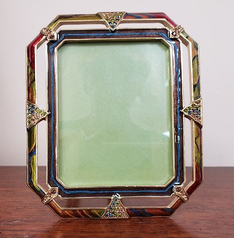 JAY STRONGWATER ENAMELLED GOLD/BEJEWELLED FRAME
