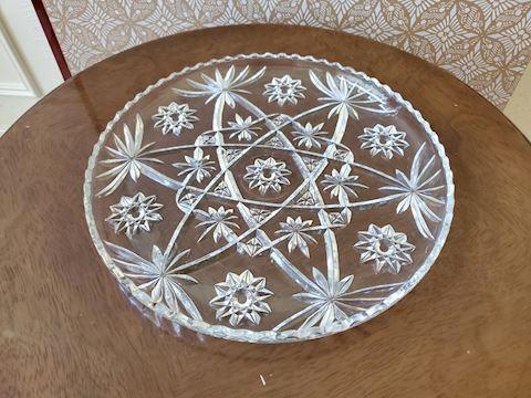 Cut glass serving platter