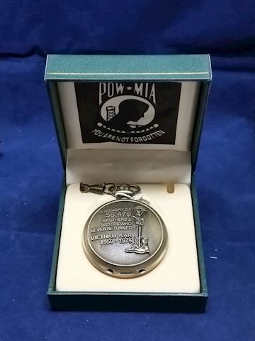 Men's Pocket Watch With Chain Viet Nam POW-MIA