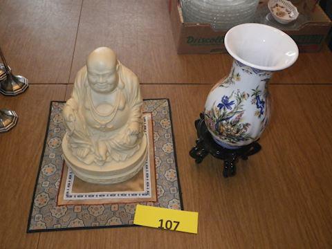 Lot #107 - Buddha and Vase