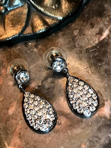 Swarovski Pendant Drop Pierced Earrings Signed