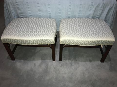 Matching Vintage Pair Boudoir Benches
