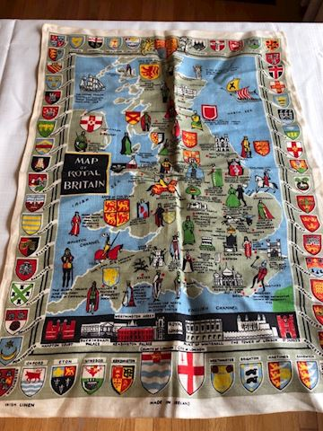 Map of Royal Britain Tea Towel, Irish Linen