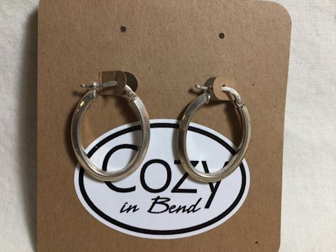 Sterling Silver oval hoop earrings #82-17