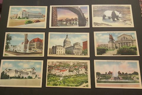 10 Vintage St. Louis Missouri Linen Postcards