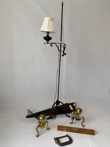 Lot 0088 Brass and Iron Lamp
