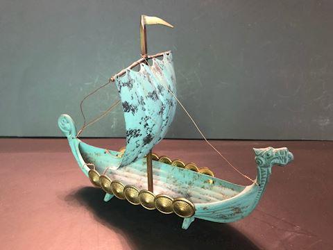 Viking Ship Model Verdigris Norse Longboat Replica