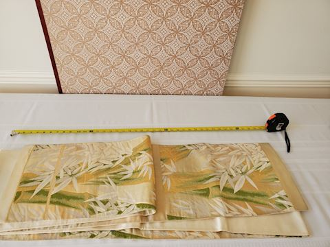Long cream bamboo pattern silk Japanese textile