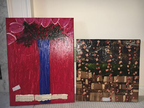 Two Canvas Collages by Lisa Graham