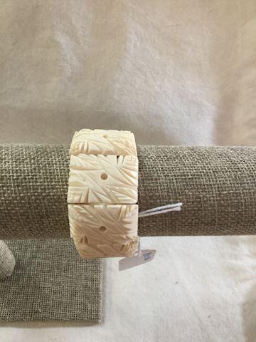 Vintage carved bone bracelet (leaf design) # 80-10