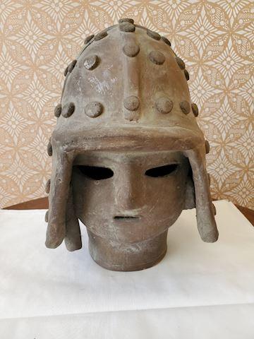 Japanese clay warrior head sculpture