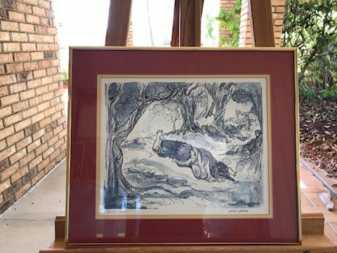 "Lewis Watkins ""Artist Proof"" Pen Sketch"