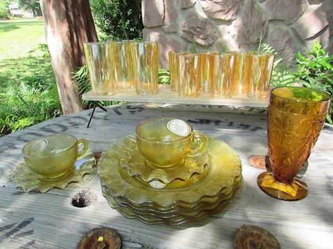 Amber/Gold Glassware Lot 20 pcs