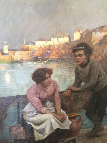 Large Painting of Sailor & Maiden Harbor Scene
