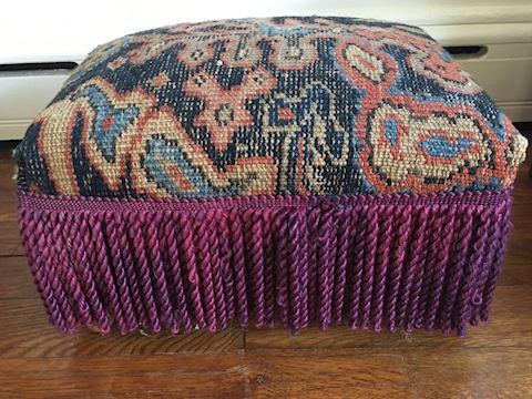 Vintage Fringed Tapestry Footstool