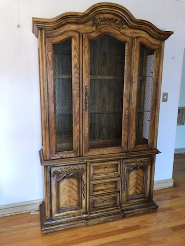 Vintage hutch display case with glass doors, light