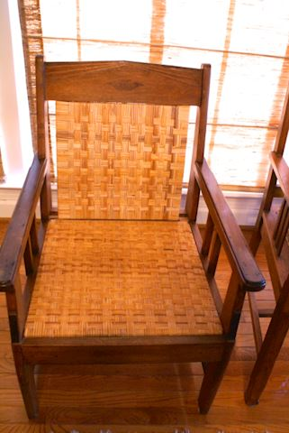Teak and woven arm chair