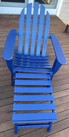 Blue Poly Adirondack Chair with Footrest