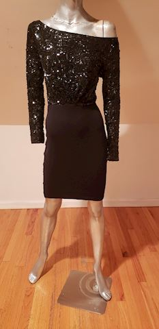 Retro Donna Karan knit sequin wiggle dress