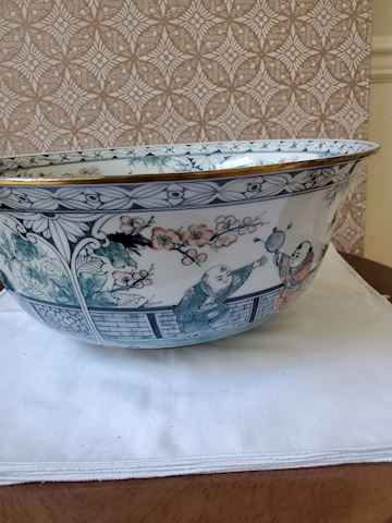 Large Bowl, gold rim hand painted