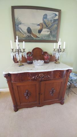 Victorian 19th Century Sideboard w/ Marble Top