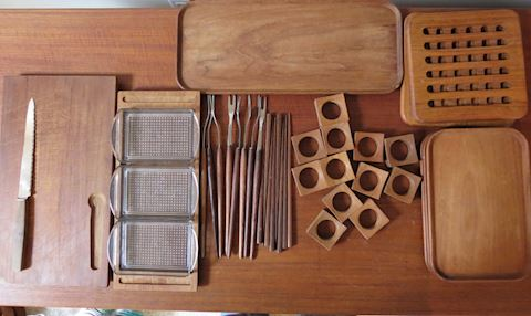 Mid Century Teak Serving Pieces and Utenils 36 pcs