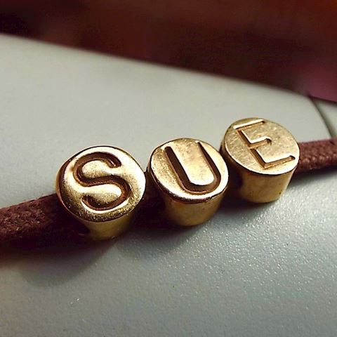 14k Yellow Gold SLIDE CHARMS For SUE Letters