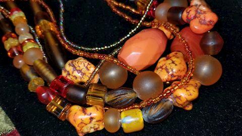 Orange turquoise/ beaded necklace.