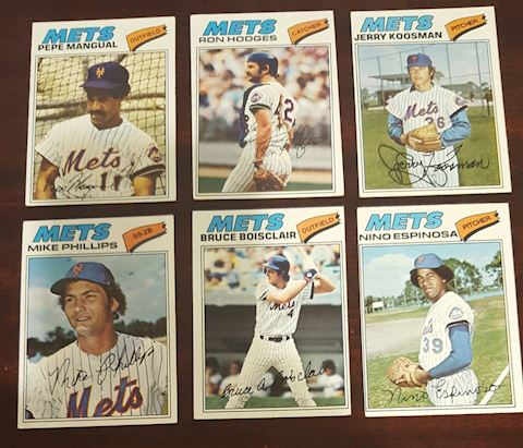 1977 Collection of 6 Mets Baseball Cards